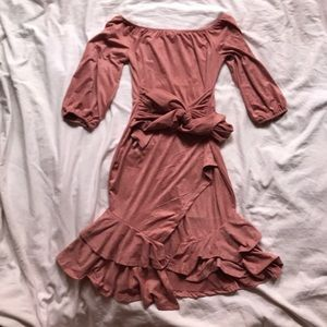 Auditions Pink Suede Off Shoulder Dress with Tie